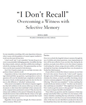 Overcoming A Witness With Selective Memory